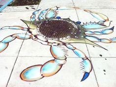 Blue crab storm drain  Artistic Storm Drains Help Raise Awareness http://blog.epa.gov/science/2013/02/around-the-water-cooler-artistic-storm-drains-help-raise-awareness/