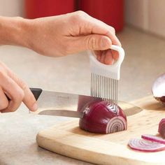 1PC Onion Potato Tomato Vegetable Slicer Cutter Stainless Steel Onion Cutter Slicer Holder Slicing Kitchen Tools Gadget 10.7x8cm #Affiliate