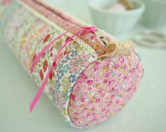 Made with my Round Pencil Case pattern and Japanese Liberty-inspired fabrics  ... I love adding pretty little details like lace trim and ribbon.   Pretty By Hand