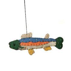 Blue Orange Multi Embroidered Fish Ornament $10.50
