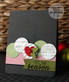 Card by Jen del Muro. Reverse Confetti stamp set: Seasonal Sentiments. Confetti Cuts: Circles 'n Scallops, Love Note, and North Pole Wishes. Dec 2014 #SFYTT Christmas card.