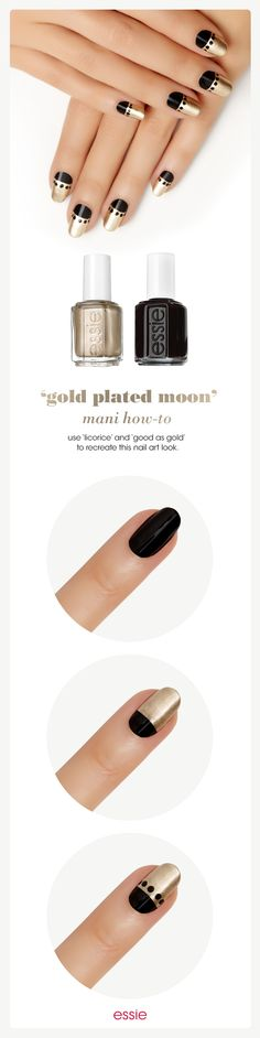 Gold Plated Moon Nail Art Tutorial by Essie Looks. Create an elegant at-home manicure with this eye-catching black and gold nail art design. Diy Nails, Cute Nails, Pretty Nails, Elegant Nail Art, Nagel Hacks, Easy Nail Art, Creative Nails, Black Nails, Gold Nails