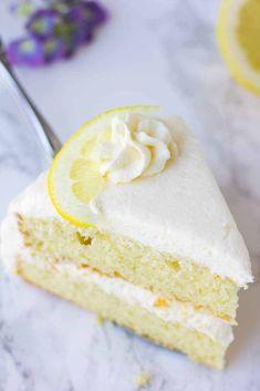The best vegan lemon cake, easy to make with moist fluffy layers and a lemon buttercream frosting. The best vegan lemon cake, easy to make with moist fluffy layers and a lemon buttercream frosting. Vegan Yellow Cake, Vegan Cake Mix, Vegan Lemon Cake, Vegan Cupcakes, Dairy Free Lemon Cake, Vegan Dessert Recipes, Easy Cake Recipes, Vegan Lemon Desserts, Vegan Treats