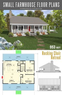 The best simple farmhouse plans - Rocking Chair Retreat Why more and more people are looking for modern small farmhouse plans? Building a farmhouse is easier than one might think. Small House Floor Plans, Barn House Plans, New House Plans, Cabin Plans, The Plan, How To Plan, Simple Farmhouse Plans, Farmhouse Floor Plans, Simple Home Plans