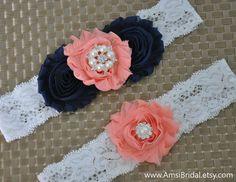 Navy Blue garter,Peach Garter,Navy Blue and Peach garter,Garters Sets,Peach Wedding,Navy Blue wedding,Navy and Peach wedding, Custom garters