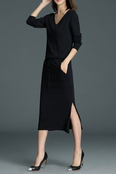Roeyshouse Black Slit Midi Sweater Dress | Sweater Dresses at DEZZAL