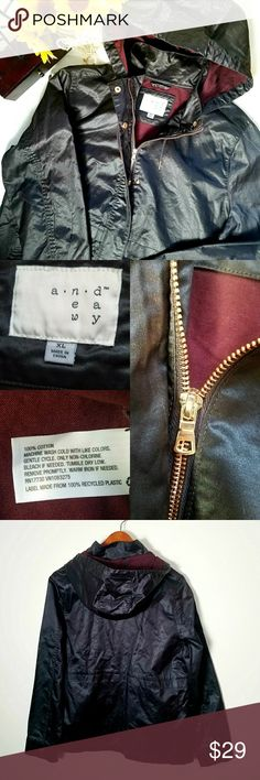 """NWOT. Waxed Field Jacket. NWOT. Color Dark Berry. Rose gold color hardware. Light weight jacket. Hooded, collared, button/zipper front. Relaxed fit. Front pockets with buttons. Water resistant treatment. Looks great over plaid with jeans & ankle booties.   Measurements  Bust 42.5""""  Waist 36""""  Sleeve Length  Length Shoulder to shoulder   Always willing to negotiate. Make an offer or bundle your likes for a private non obligatory offer. a new day Jackets & Coats"""