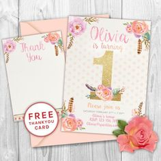 First birthday invitation floral birthday by PaperSparkleDesigns