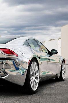 ♂ Silver car Fisker Karma the chrome on this thing is NICE! Tesla Motors, Sexy Cars, Hot Cars, Car Best, E90 Bmw, Cars Vintage, Chrome Cars, Lamborghini, Silver Car