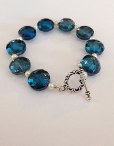 Blue Green Turquoise Iridescent Bead Bracelet By Meadowlarkblossom Use Coupon Code Blossom10 For