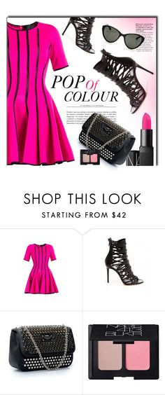 """""""Pop Of Colour"""" by firstboutique ❤ liked on Polyvore featuring Philipp Plein, NARS Cosmetics, Linda Farrow, Pink and pinklips"""