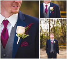 Wedding Suits Navy and Burgundy Fall Wedding in Shelbyville, Illinois at the Shelbyville Event Center Navy Gray Wedding, Blue Tuxedo Wedding, Maroon Wedding, Wedding Ties, Burgundy Wedding, Wedding Groom, Wedding Attire, Fall Wedding, Dream Wedding