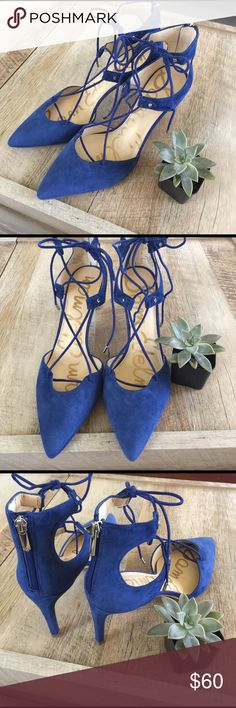 HP 🍍 • blue heels • New without tags, silver zipper on the back with lace tie up on the front. Suede. Pointy. Very vibrant blue. Sam Edelman blue heels. Sam Edelman Shoes Heels