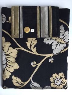 Reduced Price - Black and Gold Floral Satin Fabric Ipad Sleeve - Handmade in Scotland - Ipad case,protective sleeve,ipad protection