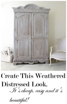 Weathered And Distressed Technique Super Easy And Cheap! is part of Easy Distressed furniture - Create A weathered and distressed painted piece of furniture This is a simple technique to age a piece of furniture It's quick, easy and cheap! Paint Furniture, Furniture Makeover, Furniture Decor, Bedroom Furniture, Furniture Design, Furniture Stores, Refinished Furniture, Furniture Companies, Furniture Market