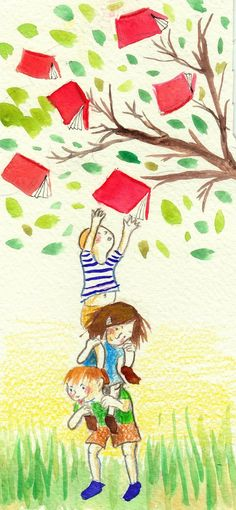 Picking a good book - Illustration Antonia Rosello I Love Books, Good Books, Books To Read, My Books, Reading Art, Kids Reading, Book Illustration, Illustrations, World Of Books