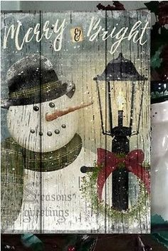 Primitive Christmas Sign Merry & Bright Snowman Wooden Vintage Sign 3 of 4 Christmas Signs Wood, Diy Christmas Ornaments, Outdoor Christmas, Christmas Snowman, Rustic Christmas, Christmas Lights, Christmas Wreaths, Christmas Decorations, Christmas Quotes