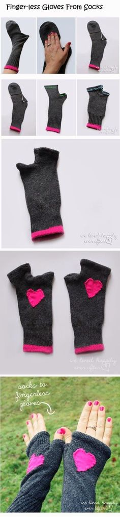 Finger-less gloves from socks-- fun project idea