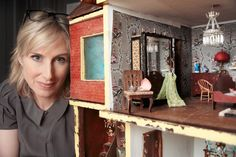 Lauren and Dolls' House  courtesy of BBC/Robert Mackenzie. Lauren Child's dolls house is on show at the House of Illustration, london from the end of October, 2015.