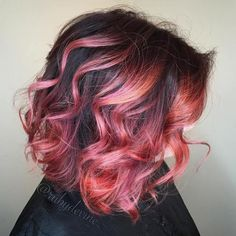 Black And Pink Wavy Bob