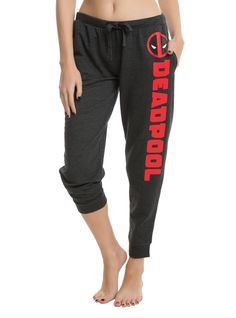 "<p>We get that wearing pants can be a total drag. These joggers from Marvel are so comfortable and they're close enough to pants...right? Charcoal grey joggers with a <i>Deadpool</i> logo on the left leg and elastic and drawstring waist. </p>  <ul> 	<li style=""list-style-position: inside !important; list-style-type: disc !important"">60% cotton; 40% cotton</li> 	<li style=""list-style-position: ins..."