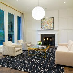 Such a great #contemporary #rug for this #livingroom!
