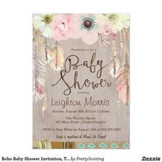 Boho Baby Shower Invitation, Tribal Feather Rustic 5x7 Paper Invitation Card