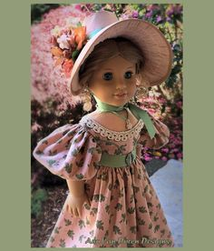 Ann Van Doren Designs by AnnVanDorenDesigns Ag Dolls, Girl Dolls, Silk Bonnet, American Girl Clothes, American Girls, Ag Doll Clothes, Ag Clothing, Doll Patterns, Sewing Patterns
