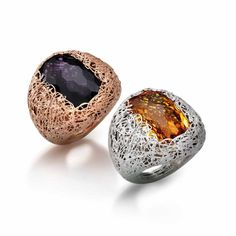 Silver rings plated in rose gold with amethyst and rhodium with citrine The Fifth Season by Roberto Coin