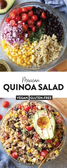Make this light and refreshing quinoa salad recipe with ingredients you probably already have on hand! This flavorful Mexican salad is vegan and gluten-free and the perfect vegetarian meal to add to your rotation. Helpful Ideas on Cooking Quinoa Mexican Quinoa Salad, Mexican Salads, Mexican Salad Recipes, Salad With Quinoa, Meals With Quinoa, Gluten Free Quinoa Salad, Avocado Recipes, Gluten Free Vegan, Quinoa Dishes