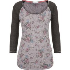 maurices Baseball Tee In Floral Print ($26) ❤ liked on Polyvore featuring tops, t-shirts, shirts, grey, burnout t shirt, elbow sleeve shirt, baseball sleeve shirt, polyester t shirts and scoop neck tee