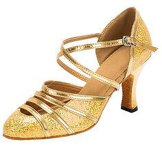 Zapatos de baile(Oro) -Latino / Moderno-Personalizables-Tacón Personalizado…                                                                                                                                                                                 Más