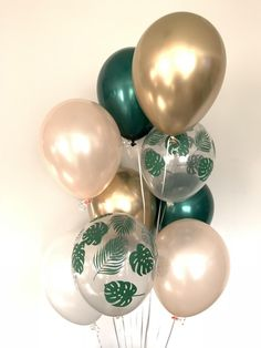 Monstera Leaf Sage Green Balloons Tropical Wedding Decor Green and Gold Green Bridal Showers, Tropical Bridal Showers, Tropical Wedding Decor, Tropical Decor, Tropical Interior, Tropical Colors, Décor Tropical, Tropical Furniture, Hawaiian Party Decorations