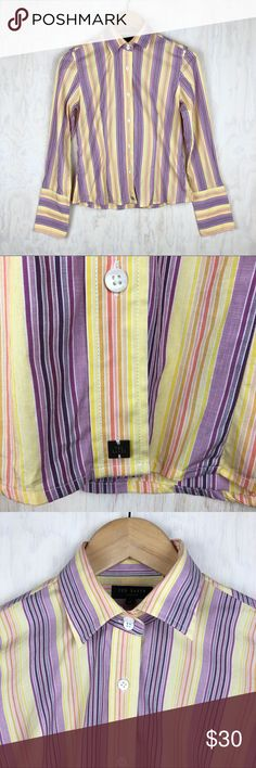 Ted Baker vertical stripe button down yellow 2 Yellow purple pink orange. Button down with 5 button cuffs. Excellent condition. Approximate flat lay measurements: chest 17in, length 22in. #H-13 Ted Baker London Tops Button Down Shirts