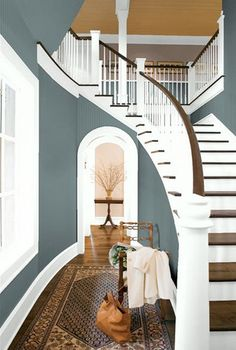 I want a house that has a staircase like this! The Top 100 Benjamin Moore Paint Colors - site has beautiful rooms shots, organized by color, with the name of the color under each photo. Style At Home, Home Interior, Interior Design, Kitchen Interior, Scandinavian Interior, Kitchen Designs, Interior Ideas, Modern Interior, Modern Furniture