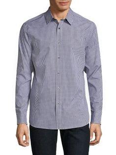 MICHAEL KORS Andre Micro-Checkered Shirt. #michaelkors #cloth #shirt