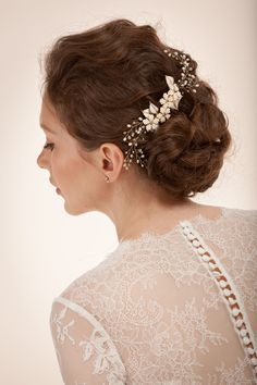 Elegant Bridal updo and hair vine