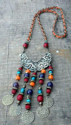 . Bead Jewellery, Oxidised Jewellery, Tribal Jewelry, Metal Jewelry, Boho Jewelry, Jewelry Crafts, Beaded Jewelry, Jewelery, Jewelry Necklaces