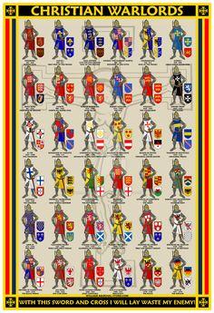 Christian Warlords chart of knights. Medieval World, Medieval Knight, Medieval Armor, Medieval Times, Knight Orders, Crusader Knight, Christian Warrior, Armadura Medieval, Knight Art