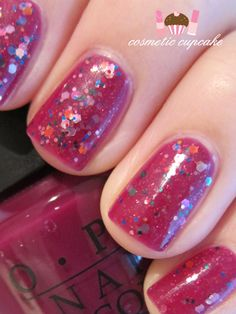 Cosmetic Cupcake: Purple glitter sandwich manicure