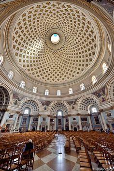Kościół - Rotunda - wnętrze i kopuła, Mosta Malta