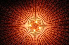 The ceiling of mongolian yurt in Sinkiang.  --->the interior of 360 screen tent design