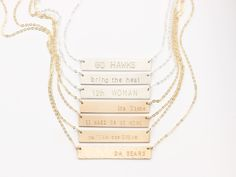 Sports Fan Bar Necklace, Personalized with your Team or Slogan!  #teamjewelry