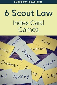 Learning the Boy Scout Oath and Law can be a little challenging for Cub Scouts. But these 6 fun Scout Law games are an easy way for them to practice the Law. Use these as gathering activities or during your Cub Scout den meetings. via @CubIdeas Cub Scout Oath, Cub Scouts Wolf, Tiger Scouts, Scout Leader, Eagle Scout, Cub Scout Skits, Cub Scout Games, Cub Scout Activities, Primary Activities