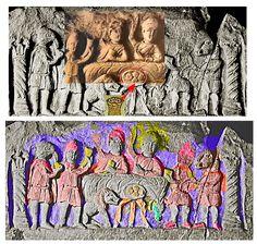 breads and wine, cene with no fishes but taurus leg and blood. Mithra à la droite de Dieu( sol invictus) , Mithra, messager de vie et de vérité et sauveur, partage le repas sacré ,assis à la droite du seigneur de l 'univers, Sol Invictus.  Les pains sur l'autel à jambes du taureau sacré sont issus des épis de blé de la queue du taureau. Le vin des vignes du seigneur versé dans les coupes symbolise le sang de l'avatar du sauveur…