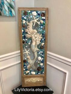 Excited to share this item from my shop: Beach Glass, mermaid and Starfish in Barnwood Frame, Beach Glass Wave Sea Glass Crafts, Sea Crafts, Seashell Crafts, Resin Crafts, Seashell Art, Sea Glass Mosaic, Sea Glass Art, Stained Glass, Broken Glass Art
