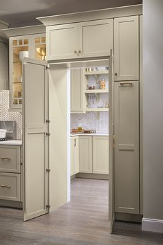 Is a walk-in pantry at the top of your kitchen renovation wish list? The pantry … Is a walk-in pantry at the top of your kitchen remodel wish list? The Pantry Walk Through Cabinet allows you to maintain design cohesion with full-height cabinet doors that Diy Kitchen Cabinets, House, Home, Kitchen Remodel, Kitchen Cabinet Organization, Farmhouse Kitchen, Pantry Design, Kitchen Renovation, Kitchen Design