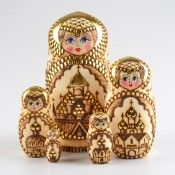Golden Wood Burned Matryoshka therussianstore.com