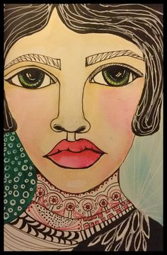 Mixed media portrait by Lisa Lieber