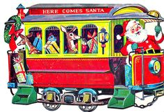 Christmas card with Santa delivering gifts on a trolley. Old Time Christmas, Old Fashioned Christmas, Christmas Past, Vintage Christmas Images, Retro Christmas, Vintage Holiday, Vintage Images, Vintage Winter, Christmas Pictures